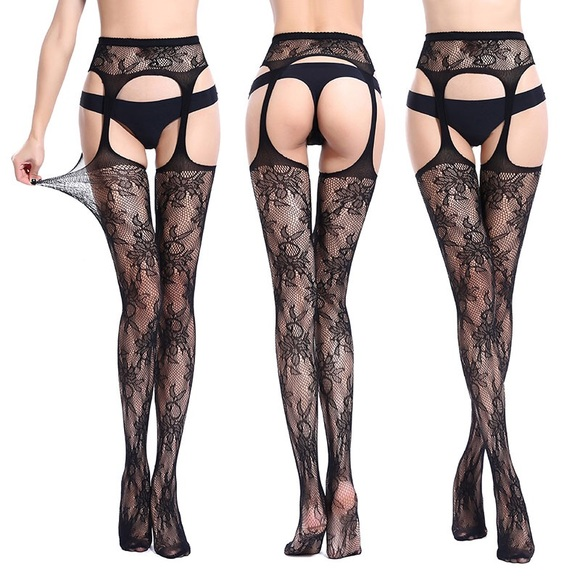 eed21f8b813069 Accessories | Sexy Black Lace Garter Belt Fishnet Thigh Highs | Poshmark